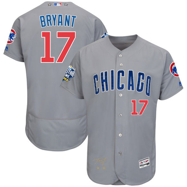 Kris Bryant Chicago Cubs Majestic 2016 MLB All-Star Game Signature Flex Base Cubs Jersey - Gray Throwback Baseball Jerseys(China (Mainland))