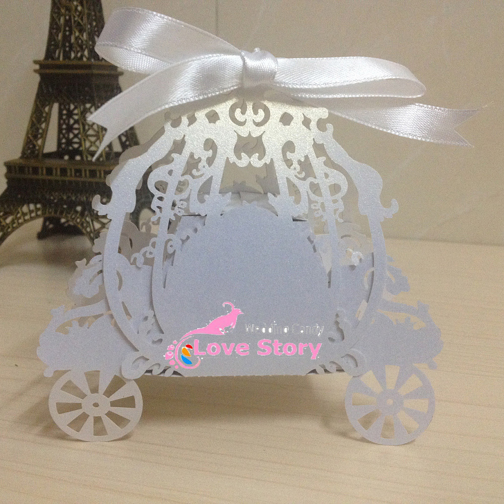 50pcs Laser cut White and pink pumpkin carriage Wedding favor box,in pearl color candy box,baby shower gift box,party supplies(China (Mainland))