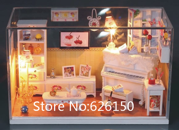 Sweet home DIY handmade mini house dollhouse with Glass dust cover and music for girls gift