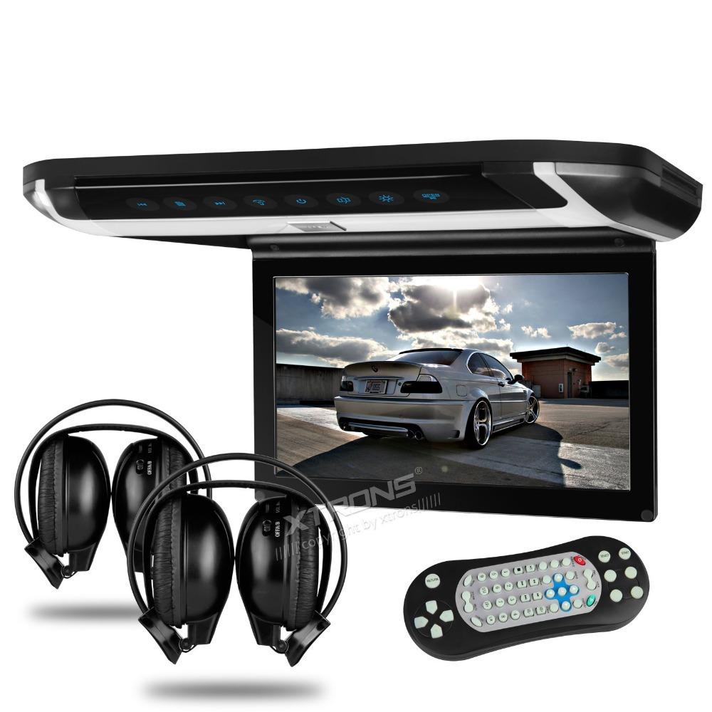 "Xtrons 10.1"" HD Digital TFT Car Roof Monitor DVD car roof flip down monitor SD/ USB/thin stylish design with 2pcs IR headphones(China (Mainland))"