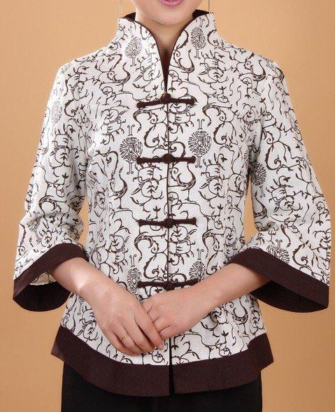 Fashion Chinese Ladies Linen Cotton Jacket Coat Spring ...