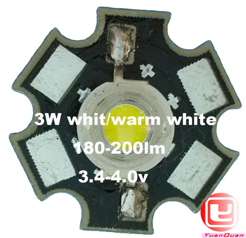 ! 5 High power LED chip 3W 180-200LM White/ Warm White led lamp 20mm Star Platine Heatsink - Shenzhen xing yuanquan electronics co., LTD store