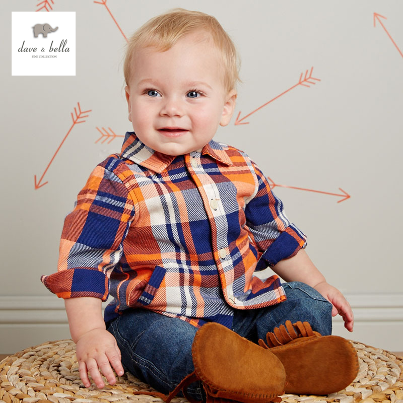 DB2350 dave bella autumn baby boys fashionable font b tartan b font cotton baby tops baby