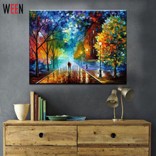 1 Pcs Rural Landscape Painting by Number DIY Oil Paint 40X50CM Canvas Art Lovers Walks In the Street Oil Painting Home Decor(China (Mainland))