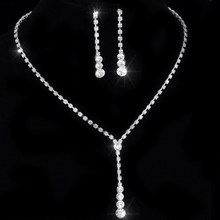 Crystal Tennis Drop Necklace Set Silver Bridal Bridesmaid Jewelry sets Rhinestone Necklace Earrings(China (Mainland))