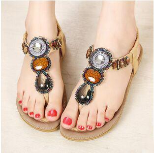 2015 New Summer Fashion Women's Rome Beaded Rhinestone Vintage Flat Sandals,Ladies Bohemian Beach Shoes 4 Colors Plus Size 41 - ShanDong WeiLin International Trade Co.,Ltd store