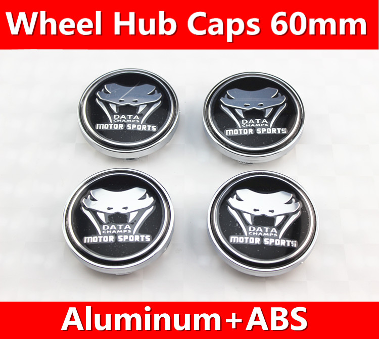 4x BLACK 60mm wheel center caps hub cover chrome car badges ABS for DATA CHAMPS MOTOR SPORTS(China (Mainland))