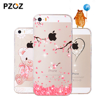 PZOZ iphone 5se case Rhinestone glitter silicone cover original 5 s luxury 3D cute cartoon Shell ipone 5s - Fire Union store