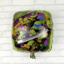 Free shipping 18 inch square of aluminum foil balloons Teenage Mutant Ninja Turtles toys for children birthday party balloons(China (Mainland))