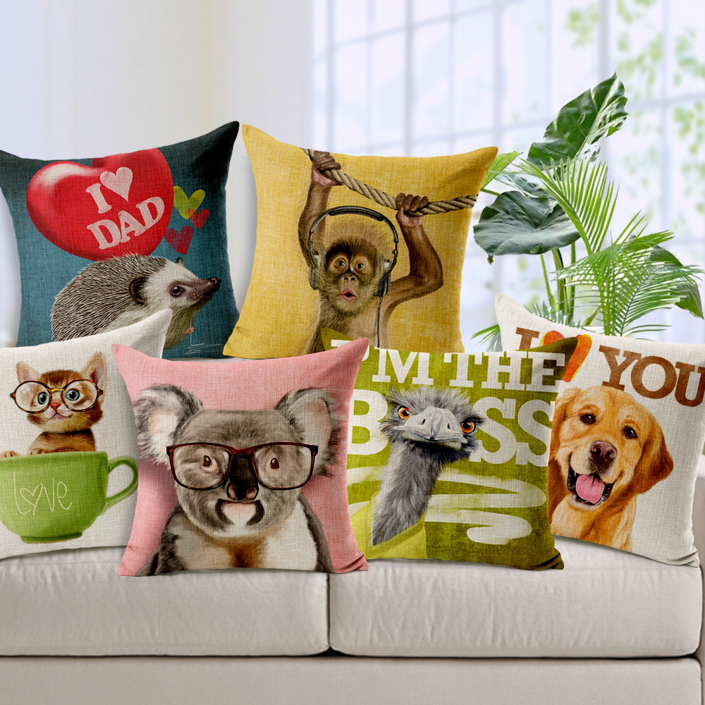 Printed Cute Cat Dog Hedgepig Decorative Cushion Cover Pillow Case Home Decor Almofadas 18 18inch coussin