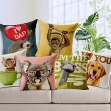 Printed Cute Cat Dog Cushion Cover Pillow Case