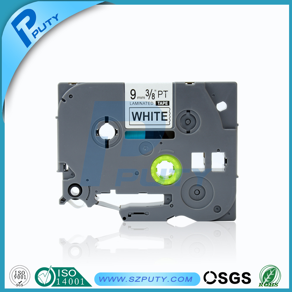 9mm black on white laminated compatible brother label printer tze label tape for p touch label