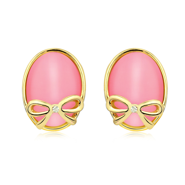 Accessories pink bow white gold plated stud earring oval shape earring female 198