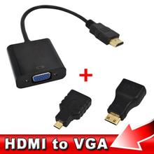 2016 1set HDMI to VGA Adaptor Micro HDMI Mini HDMI Male Adapter to VGA Female Built-in 1080p Chipset Converter For Xbox 360 PS3