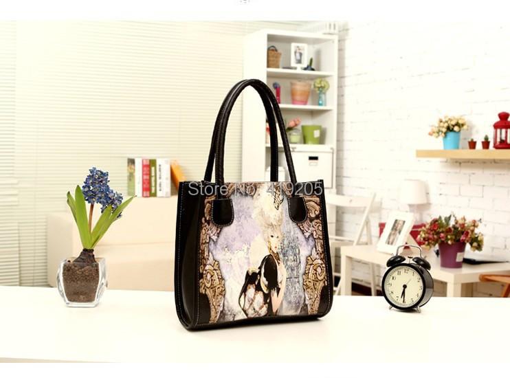 2015 hot new printing spray map pack girl patterns cartoon fashion casual girl shoulder bag handbags(China (Mainland))