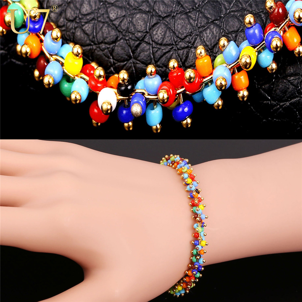 U7 Coral Bead Bracelets For Women Fashion Jewelry Wholesale New Gold Plated Colorful Cute Beads Bracelet Lover Gift H783(China (Mainland))