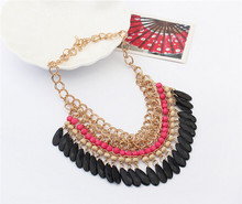 2015 Statement Necklace Bohemian Tassels Drop Vintage Gold Big Collier Chain Neon Bib Necklaces Fashion Jewelry