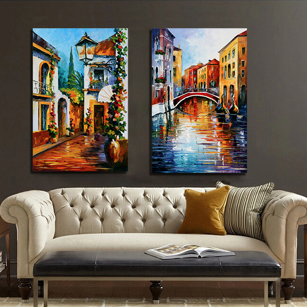 Artists leonid afremov Knife painting Works Mediterranean Venice Canvas Art Oil Painting Home Decor Wall Art(China (Mainland))