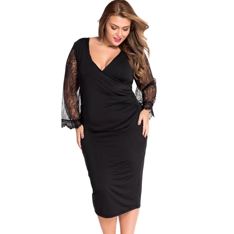 Eyelash flared sleeves little black dress plus size women clothing 2016 spring autumn wear sexy office mid calf dresses bodycon(China (Mainland))