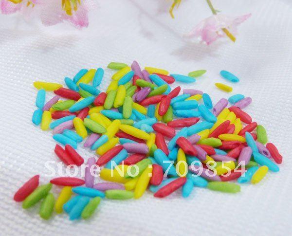 Dye mix color Rice Decoration for Rice Vial Glass/Wishing Bottle Charm Pendant/800pcs