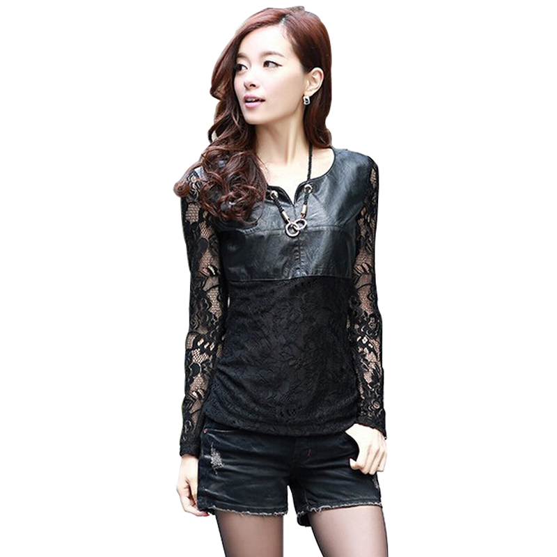 2015 Lace Blouse Shirt Blusas Femininas Fashion PU Leather Patchwork Black O-Neck Long Sleeve Plus Size S-XXXL - beautifulforever store