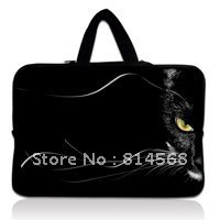 "Black Cat Face 17"" 17.3"" Neoprene Laptop Carrying Bag Sleeve Case Cover Holder+Hide Handle For HP Dell(China (Mainland))"