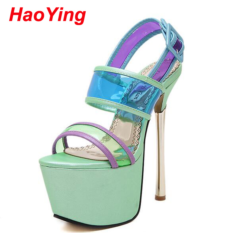 Platform sandals women Summer sandals High Heels crystal dress shoes sexy strappy sandals ladies pumps jelly Sandals green D581(China (Mainland))