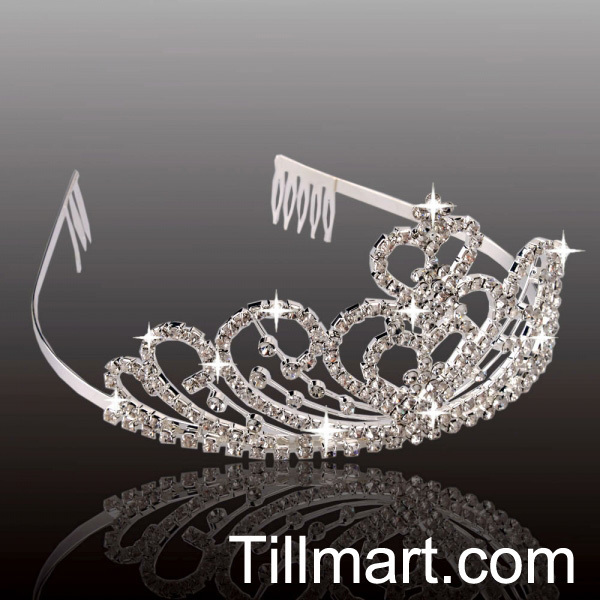 Free shipping on sale High quality Stacked Hearts Rhinestone Wedding Bridal Crown Headband