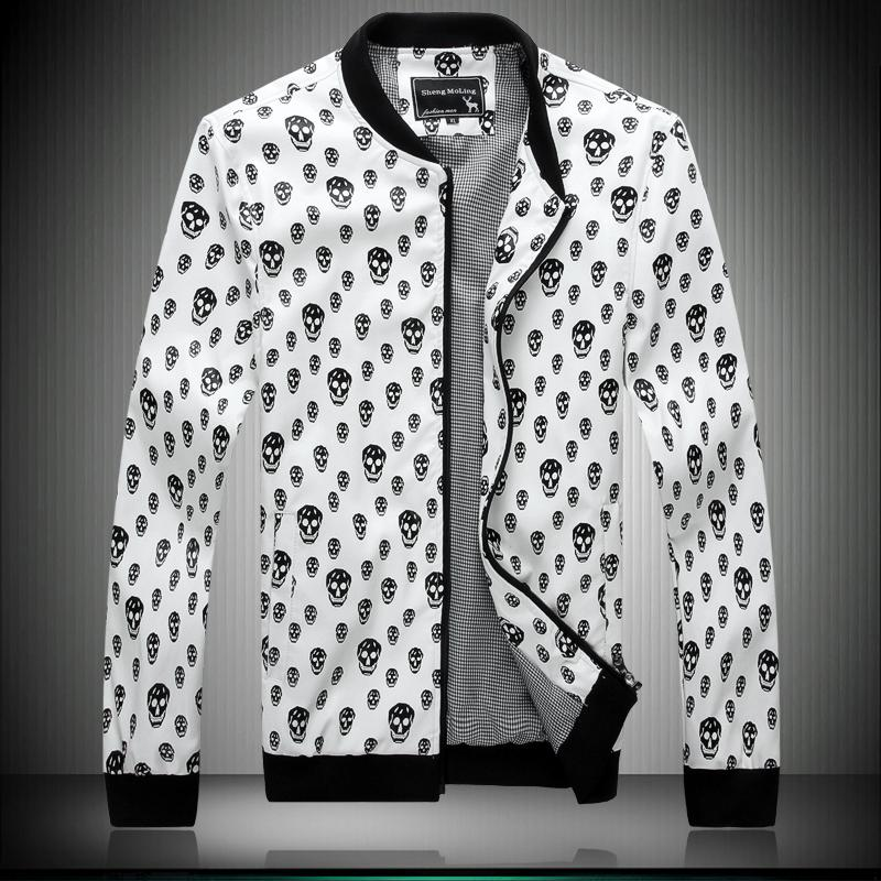 Pp male2014 men's clothing male skull outerwear personality slim PU leather jacket top(China (Mainland))