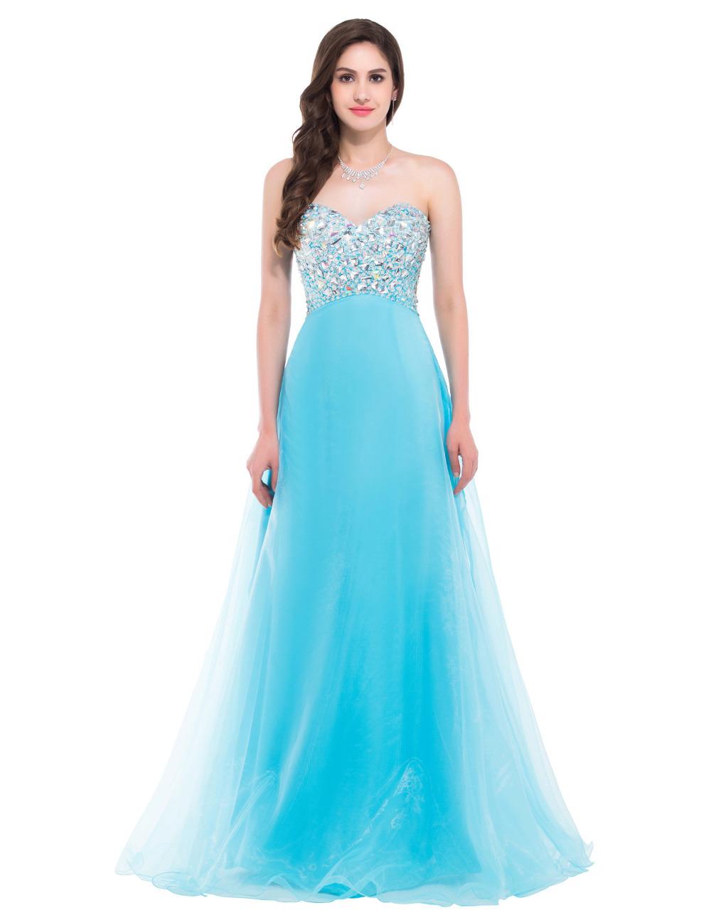 2016 Очаровательная принцесса голубой длинные вечерние платья Бисером Шифоновое бальное платье Платья vestido де феста лонго