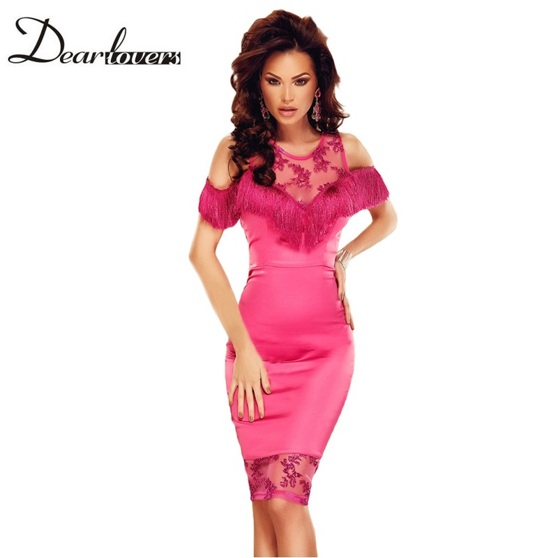 Dear lovers Summer Ladies Bodycon Dresses Fringed Mesh Patchwork Cold Shoulder Rosy Party Dress Vestidos Mujer 2017 LC61174(China (Mainland))