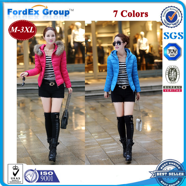 2015 warm winter jacket women fur hood solid color coat fashion short slim parka female M-XXXL - Fordex Industrial Group Limited store