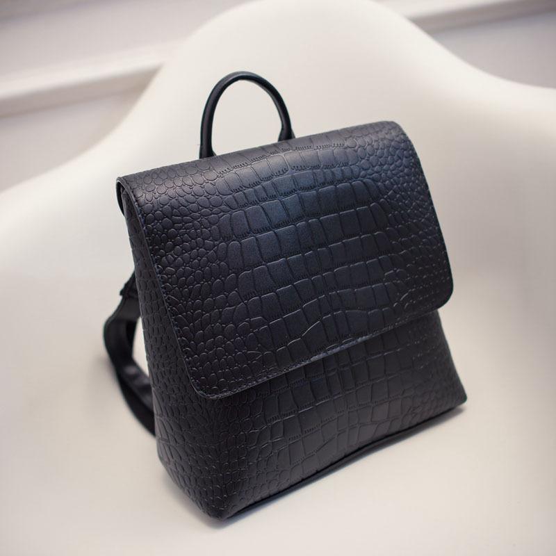 2016 New Arrival PU Leather Square Alligator Women Backpack Solid Simple Schoolbag Designer Backpack Handsome Shoulder Bag(China (Mainland))
