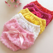 &E-babe&Wholesale New Baby Girls Cute Spring Summer Shorts Infant Fashion Diaper Cover Lace Rose Flower PP Photography Props(China (Mainland))
