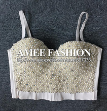 Original High-end Hand Made Pearl Bead Jewels Pad Cropped Top Women's Vest Bralet Bra Plus Size(China (Mainland))