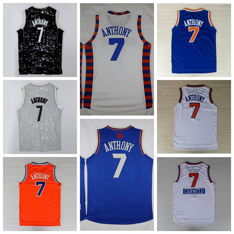 Cheap #7 Carmelo Anthony Jersey Blue Black White Gray Orange Stitched Jersey Embroidered Logos Fast Shipping(China (Mainland))