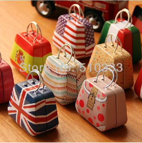 Creative handbag bag Mini Storage small tin box candy box coin box cute pendant ear 12 different design 3.5x5.5X3.5cm(China (Mainland))