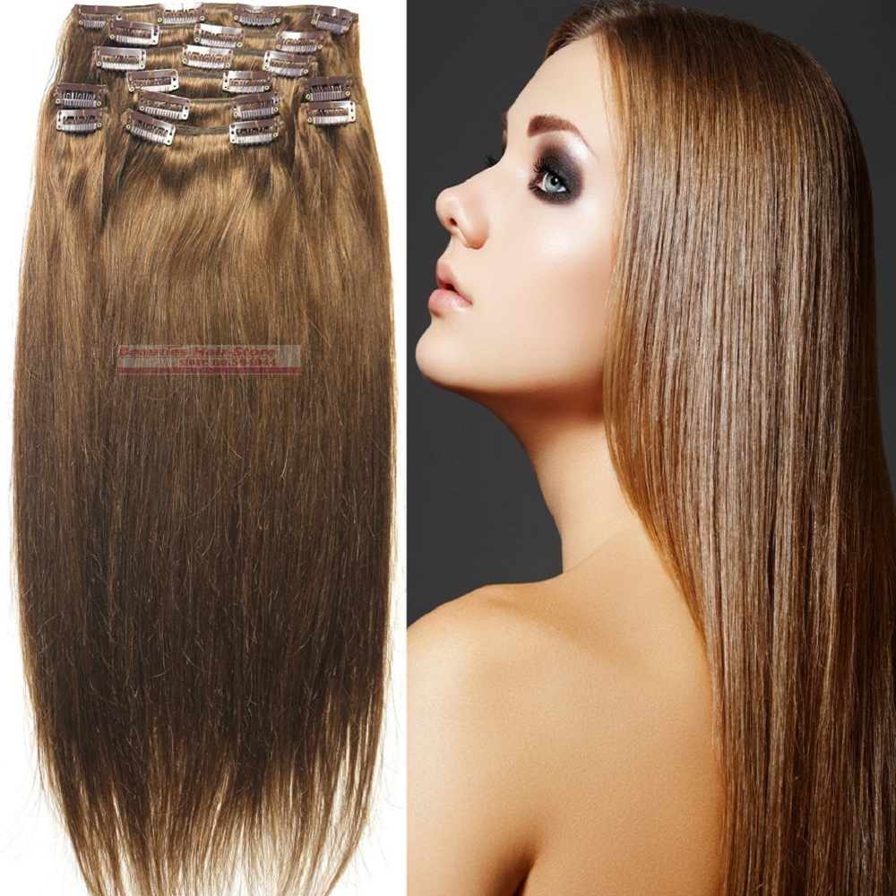 free shipping 18-32 10pcs 140g 100% human hair extensions clip in/on  #8<br><br>Aliexpress