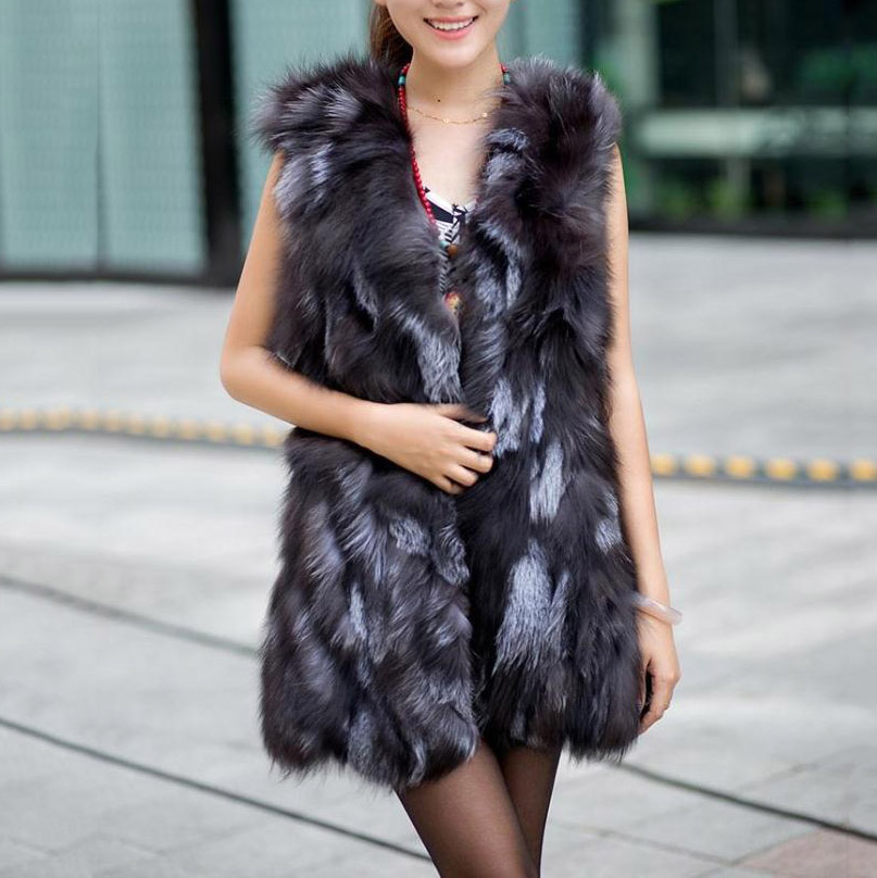 piece natural real silver fox fur vest middle long style lady genuine fox fur waistcoat gilet hot selling low price lady jacket(China (Mainland))