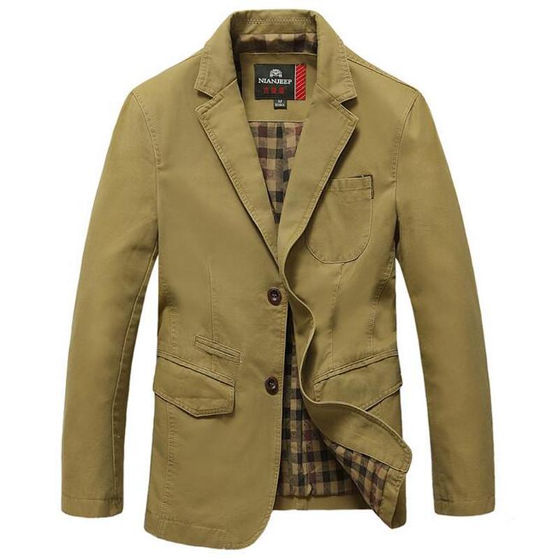 Famous Brand Casual Blazer Men High Quality Cotton Denim Parkas Men's Outwear Jackets Army Green Khaki Black Large Size M-5XL(China (Mainland))