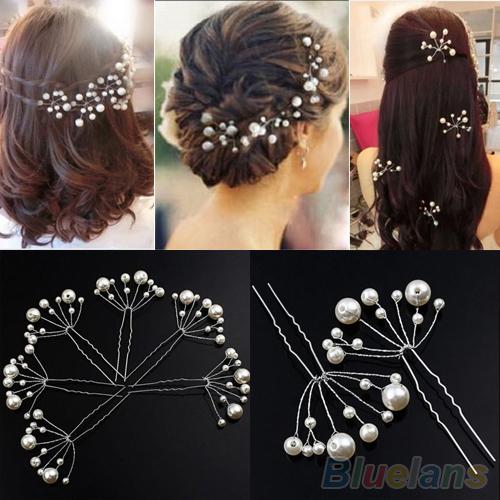Fashion New Wedding Bridal Bridesmaid Pearls Hair Pins Clips Comb Headband 1OS3 2OHU(China (Mainland))