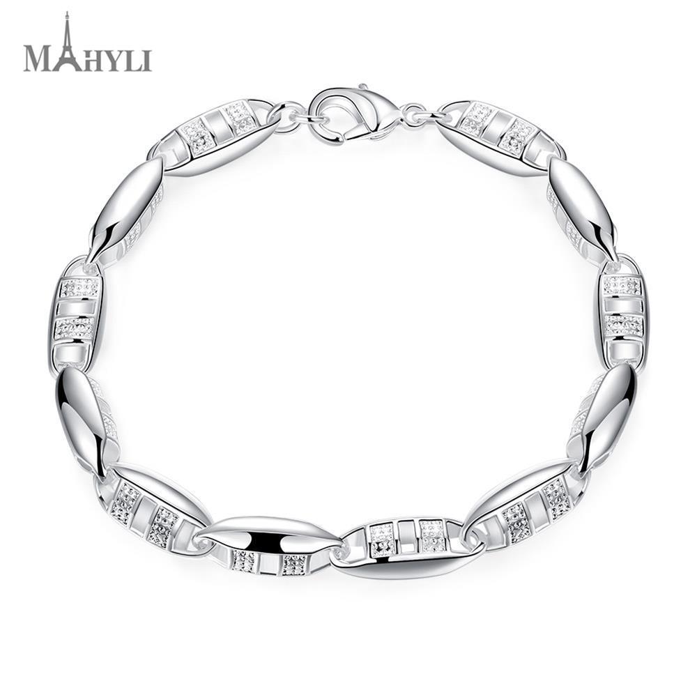 MAHYLI 925 silver elegant chain Bangle Bracelet For Men Women white silver Opening cuff Wedding Jewelry For women couple(China (Mainland))