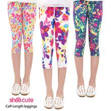 Hot summer 2016 kids new arrive 7th fashion girls leggings print flowers girls pants childrens trousers