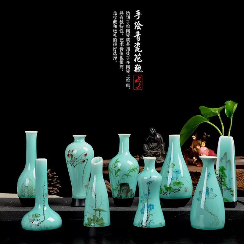 Celadon hand painting ceramic small vase flower mini handmade home decoration fashion hydroponic - 99 Forever store