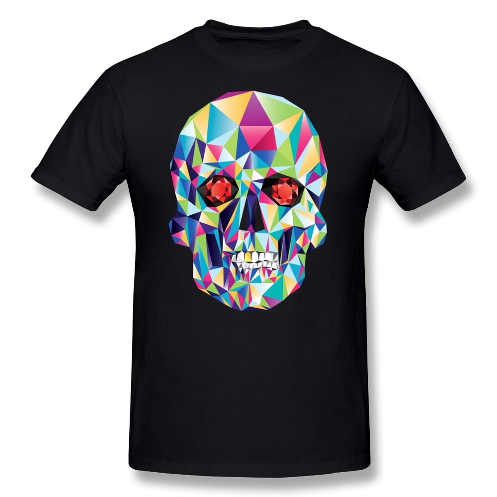 Printed Short Sleeve Boys T Shirt Geometric Candy Skull Funny Company T-Shirts Men Round-Neck(China (Mainland))