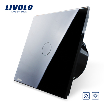 Livolo EU Standard Dimmer Switch VL-C701DR-12, Black Crystal Glass Panel, 220~250V Wall Light Remote Touch Dimmer Switch