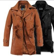 Free shipping !!! Men's Slim leisure suit collar plus velvet Genuine cowhide leather jacket coat M-2XL(China (Mainland))