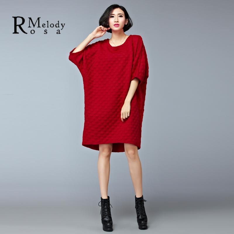 Femmes de Style Européen Robe Automne Pur Couleur Demi Manches O Cou Noir  Rouge Robe pour