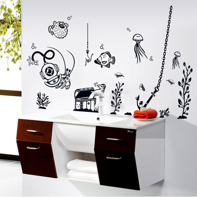 under the sea fish animal decor sticker living room. Black Bedroom Furniture Sets. Home Design Ideas