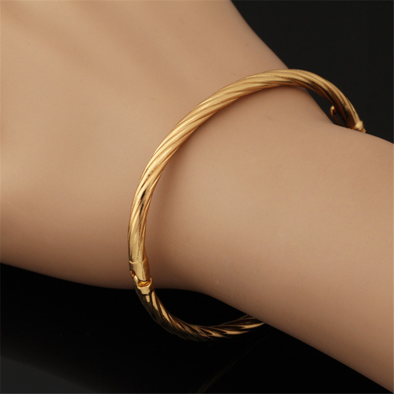New Trendy Gold Bangle for Women Gift Wholesale Jewelry 18K Real Gold/Platinum Plated lockable Braclets Bangles for women H417(China (Mainland))